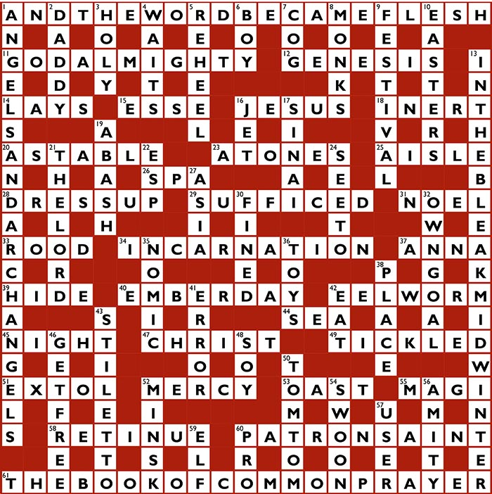 christmas crossword answers - Christmas Crossword Answers